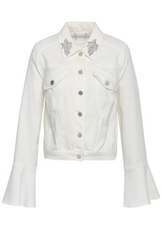 Elie Tahari Woman Appliquéd Denim Jacket White