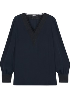 Elie Tahari Woman Aura Broderie Anglaise-trimmed Silk Crepe De Chine Top Navy