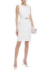 Elie Tahari Woman Azra Belted Pleated Cady Dress Ivory