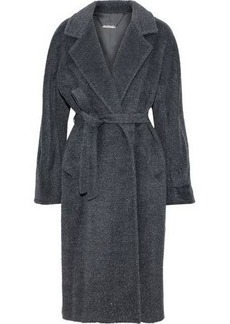 Elie Tahari Woman Calissi Metallic Wool-blend Coat Charcoal
