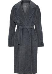 Elie Tahari Woman Calissi Metallic Wool-blend Coat Charcoal