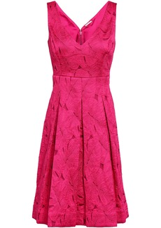 Elie Tahari Woman Camelia Pleated Jacquard Dress Fuchsia