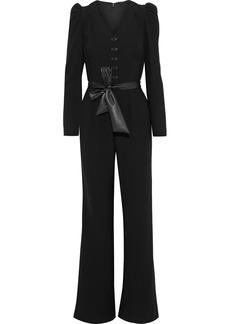 Elie Tahari Woman Campbell Belted Button-embellished Crepe Jumpsuit Black
