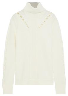 Elie Tahari Woman Carmelo Open Knit-trimmed Merino Wool Turtleneck Sweater Off-white