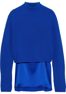 Elie Tahari Woman Casper Layered Cashmere And Silk-satin Turtleneck Sweater Bright Blue
