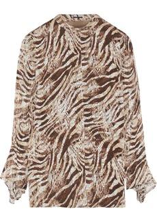 Elie Tahari Woman Chava Zebra-print Fil Coupé Silk-blend Blouse Animal Print