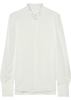 Elie Tahari Woman Ciara Ruffle-trimmed Silk Crepe De Chine Shirt Off-white