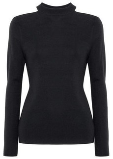 Elie Tahari Woman Cold-shoulder Merino Wool Sweater Black