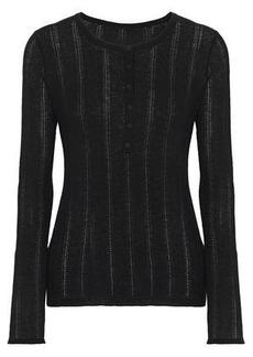 Elie Tahari Woman Corette Pointelle-knit Wool-blend Top Black
