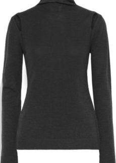 Elie Tahari Woman Cutout Merino Wool Turtleneck Sweater Charcoal