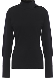 Elie Tahari Woman Cutout Wool-blend Turtleneck Sweater Black