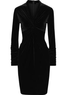 Elie Tahari Woman Cynthia Twist-front Velvet Dress Black