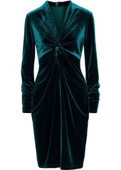 Elie Tahari Woman Cynthia Twist-front Velvet Dress Emerald