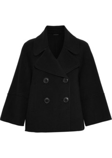 Elie Tahari Woman Edna Double-breasted Wool-felt Coat Black