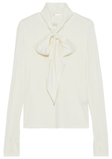 Elie Tahari Woman Elisandra Pussy-bow Satin-trimmed Stretch Modal-jersey Top Ivory