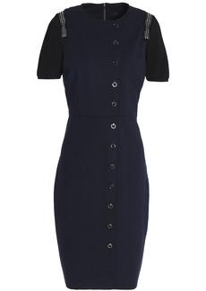 Elie Tahari Woman Embellished Lace-trimmed Crepe Mini Dress Black