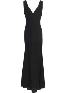 Elie Tahari Woman Embellished Tulle-paneled Crepe Gown Black