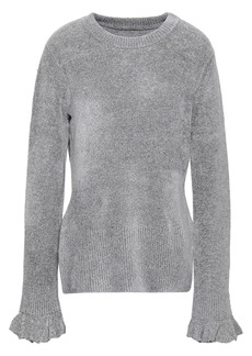 Elie Tahari Woman Embla Metallic Knitted Sweater Gray