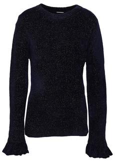 Elie Tahari Woman Embla Metallic Knitted Sweater Midnight Blue