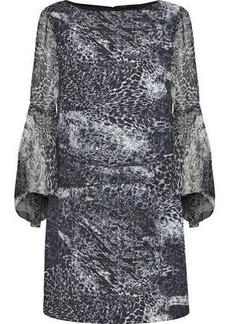 Elie Tahari Woman Esmarella Printed Georgette-paneled Crepe De Chine Mini Dress Black