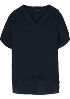 Elie Tahari Woman Evlin Ruched Silk Blouse Midnight Blue