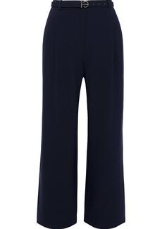 Elie Tahari Woman Faye Cropped Belted Crepe Wide-leg Pants Midnight Blue