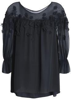 Elie Tahari Woman Floral-appliquéd Silk-georgette Blouse Navy