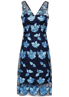 Elie Tahari Woman Floral-appliquéd Tulle Dress Blue