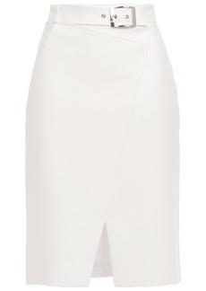 Elie Tahari Woman Gracelyn Belted Crepe Pencil Skirt White