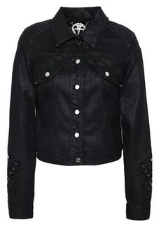 Elie Tahari Woman Meggy Guipure Lace-trimmed Coated-denim Jacket Black