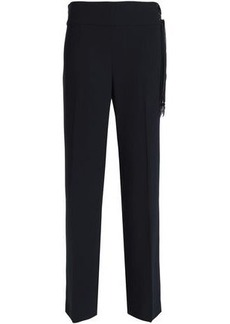 Elie Tahari Woman Haidee Silk-trimmed Crepe Straight-leg Pants Midnight Blue
