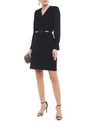 Elie Tahari Woman Hale Belted Crepe-paneled Cady Mini Dress Midnight Blue