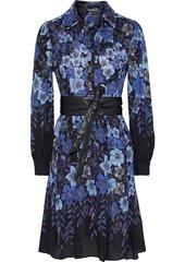 Elie Tahari Woman Hellen Belted Floral-print Georgette Shirt Dress Blue