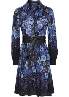 Elie Tahari Woman Hellen Belted Floral-print Georgette Shirt Dress Blue