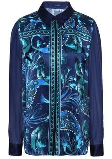 Elie Tahari Woman Ingunn Georgette-paneled Printed Silk-satin Shirt Royal Blue