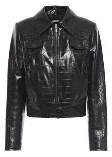 Elie Tahari Woman Jagger Faux Croc-effect Leather Jacket Black