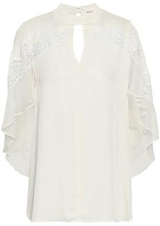 Elie Tahari Woman Jaylah Chiffon And Lace-trimmed Cutout Silk Crepe De Chine Blouse Ivory