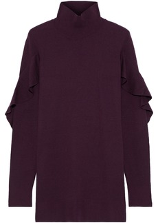 Elie Tahari Woman Kacey Ruffle-trimmed Merino Wool Turtleneck Sweater Plum