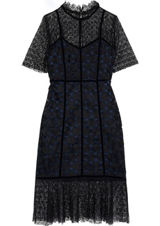 Elie Tahari Woman Kaila Velvet-trimmed Paneled Guipure Lace Dress Black