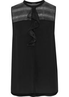 Elie Tahari Woman Kia Embroidered Organza-paneled Silk Top Black