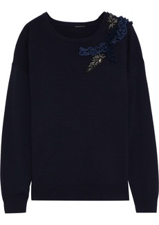 Elie Tahari Woman Lael Appliquéd Merino Wool Sweater Navy