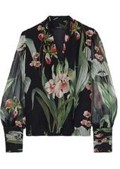 Elie Tahari Woman Laya Floral-print Silk-georgette Blouse Black