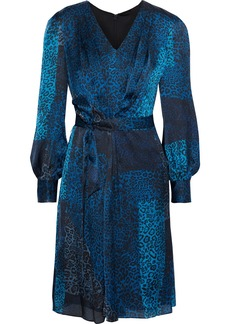 Elie Tahari Woman Leah Belted Leopard-print Silk-satin Dress Blue