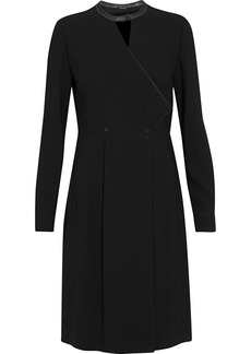 Elie Tahari Woman Leather-trimmed Cutout Crepe Dress Black