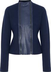 Elie Tahari Woman Leather-trimmed Merino Wool Jacket Navy