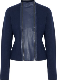 Elie Tahari Woman Leather-trimmed Merino Wool Jacket Navy