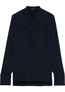 Elie Tahari Woman Ledy Pussy-bow Pintucked Silk Crepe De Chine Blouse Midnight Blue