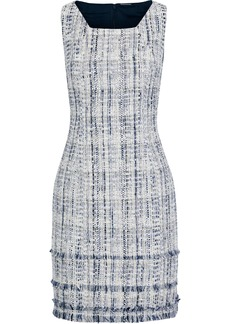 Elie Tahari Woman Leontine Denim-paneled Cotton-blend Tweed Mini Dress Sky Blue