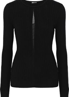 Elie Tahari Woman Lyndi Metallic Tulle-trimmed Ribbed Merino Wool Sweater Black