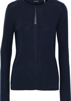 Elie Tahari Woman Lyndi Metallic Tulle-trimmed Ribbed Merino Wool Sweater Navy